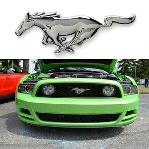 Image 3 - Tuning Auto Universale 3D Metallo Mustang Horse Frontale Cappuccio Grille Emblem Sticker Corsa e Jogging Cavallo Decal per Ford mustang accessori