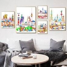 Póster Artístico de lienzo con paisaje acuarela de la ciudad de dusselfie