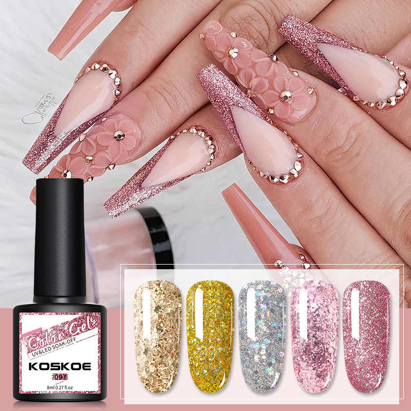 KOSKOE 8Ml Berwarna Merah Muda Warna Kuku UV Gel Biru Merah Kuning Hijau Kuku Glitter Holographics Rendam Off UV Nail Art gel Nail Varnish