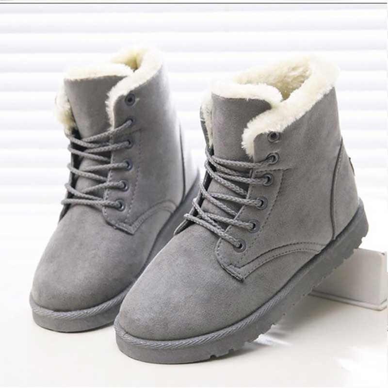 נשים מגפי חורף חם פרווה שלג מגפי נשים חורף נעלי Botas Mujer תחרה עד קרסול מגפי נשים נעלי שחור בתוספת גודל 41 42 43
