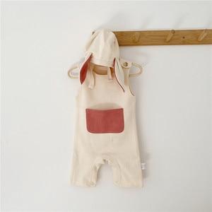 Image 2 - Комбинезон для маленьких девочек, милая одежда из одного элемента с лямками и шапками, Одежда для новорожденных