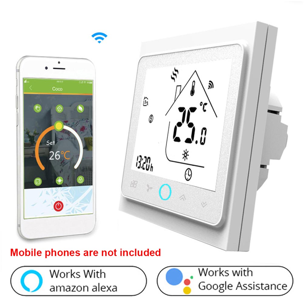 Touch Control Electric Universal LCD Screen Smart Household Backlight WIFI Water Heater Thermostat Voice Sensing For Google Home