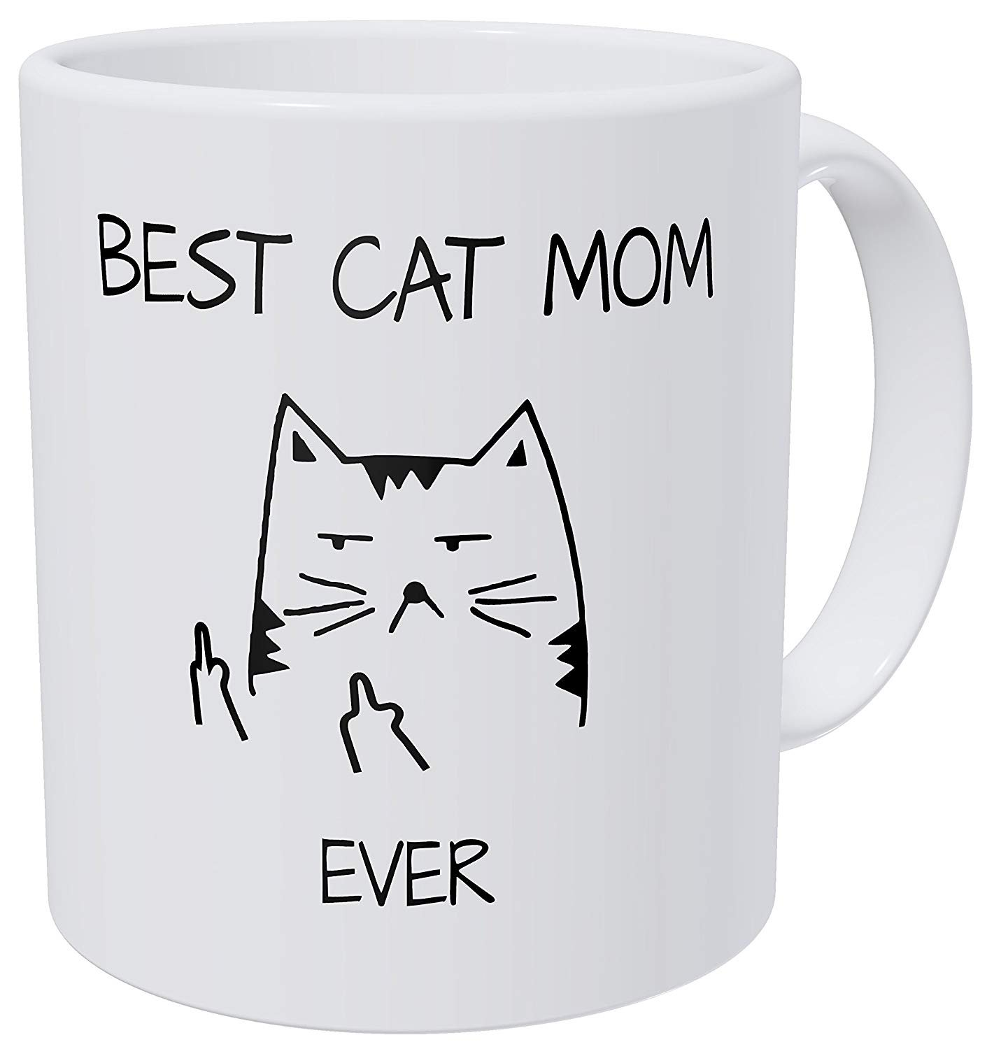 Novelty Funny Cat Gifts Best Cat Mom Ever Rude Cat Lovers Cat Memes Coffee Ceramic Mug image