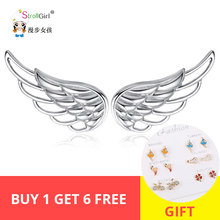 Strollgirl 100% 925 sterling silver hollow earrings luxury feather fairy wings ladies fashion jewelry free shipping new