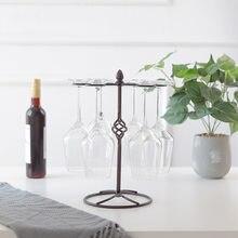 Europeu retro vinho vidro titular ornamentos de ferro forjado mobiliário doméstico removível de cabeça para baixo suporte da taça criativo pendurado