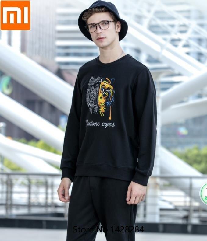 Xiaomi automne broderie tête de tigre sweat col rond doux confortable mode ample sport décontracté manches longues vêtements de sport