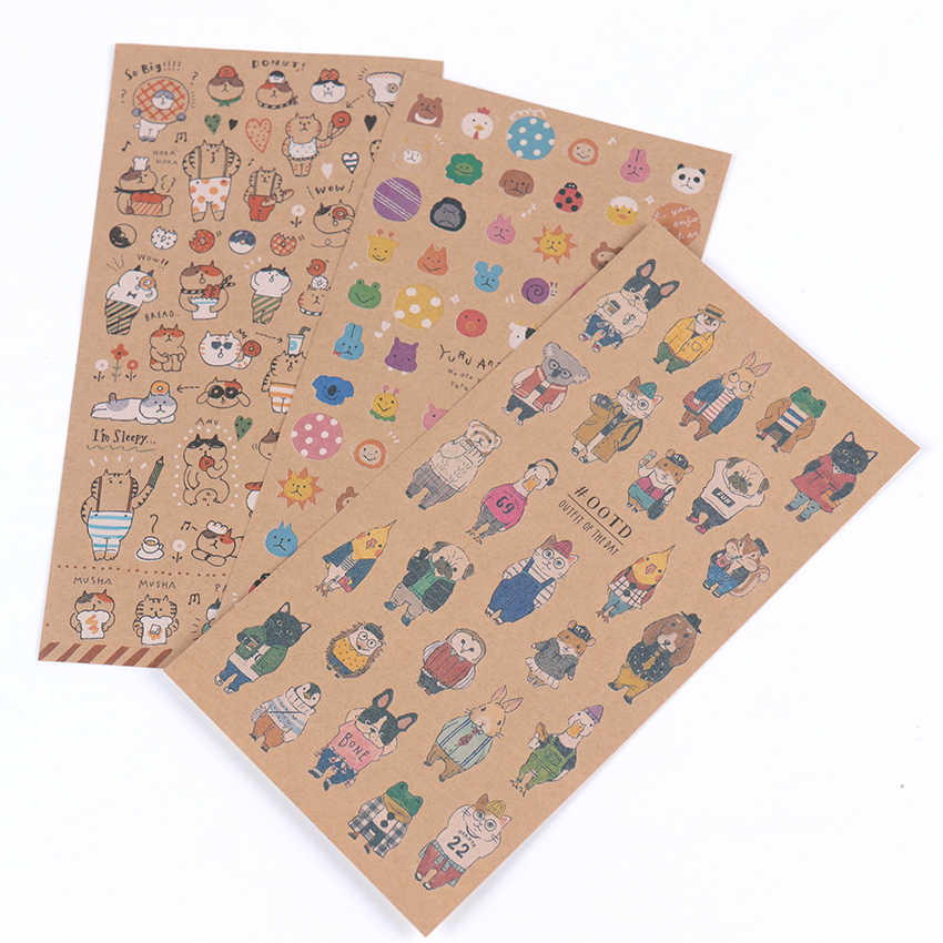 Kawaii Diary Stickers Kraft Paper Cat Sticker Scrapbooking Student Stationery Supplies Papeleria Stationery Sticker