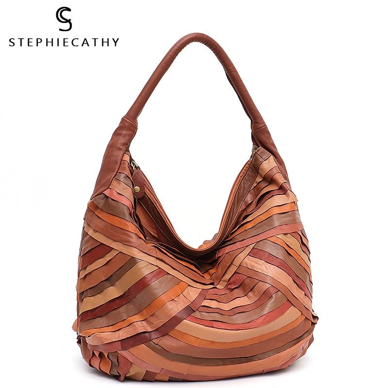SC Retro Style Large Hobo For Women Sheepskin Patchwork Shoulder&Top-handle Bag Ladies Casual Leather Tote Femal Vintage Handbag