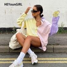 HEYounGIRL Patchwork Oversized Long Tee Shirt Women Fashion Long Sleeve T-shirt Ladies Boyfriend T Shirt Office Autumn Street