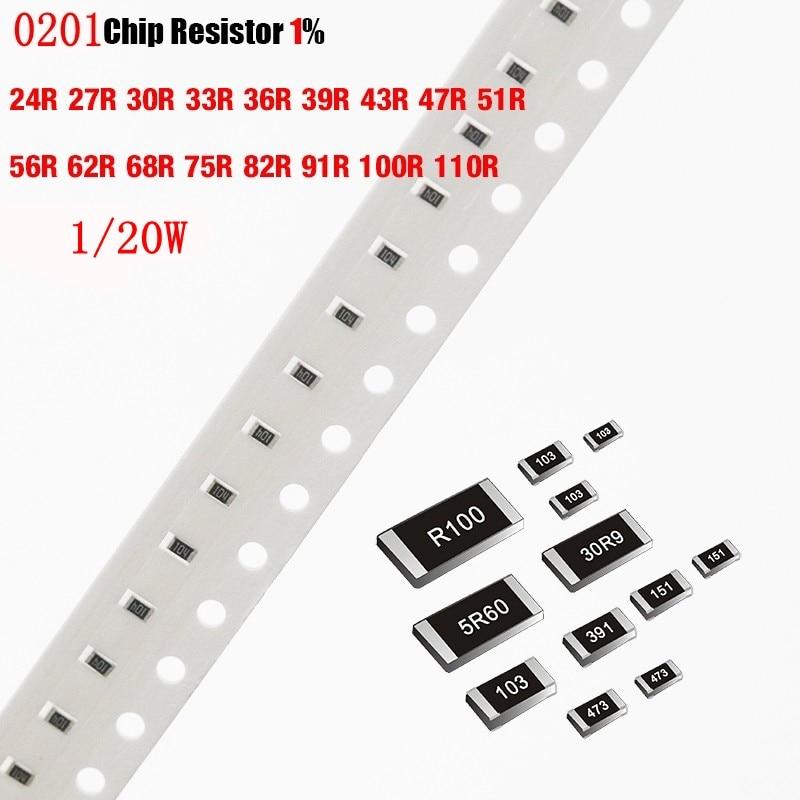 200 шт./лот чиповый резистор SMD 0201 1% 24R 27R 30R 33R 36R 39R 43R 47R 51R 56R 62R 68R 75R 82R 91R 100R 110R Ohm 1/20W