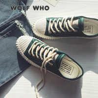 WOLF WHO toile chaussures décontractées Homme baskets à lacets étudiant chaussures Chaussure Homme offre spéciale printemps marche chaussures plates X-087