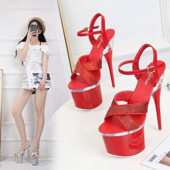 Sandals Women Glitter Sexy High Heels 18CM Platform Party Wedding Summer Women Shoes Female Steel Pipe Dance Shoes Size 34-43