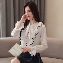 Autumn Women's Blouse Loose Trumpet Sleeve Shirt Ruffled Chiffon Shirt Womens Tops and Blouses tiered trumpet sleeve pearl embellished blouse