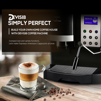 DEVISIB All-in-One Automatic Espresso Coffee Machine Americano Maker with Bean Grinder and Milk Steamer 1 Year Waranty 4