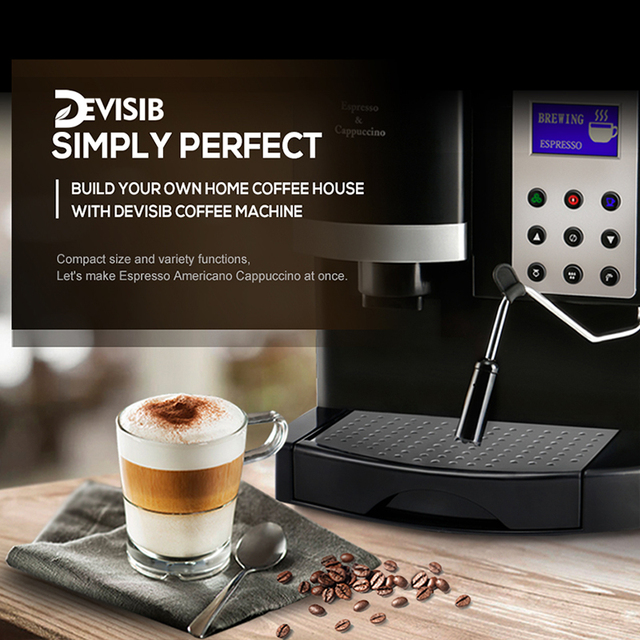 DEVISIB Professional All-in-One Espresso Coffee Machine Americano Maker with Bean Grinder and Milk Frother Become Barista Easily 3