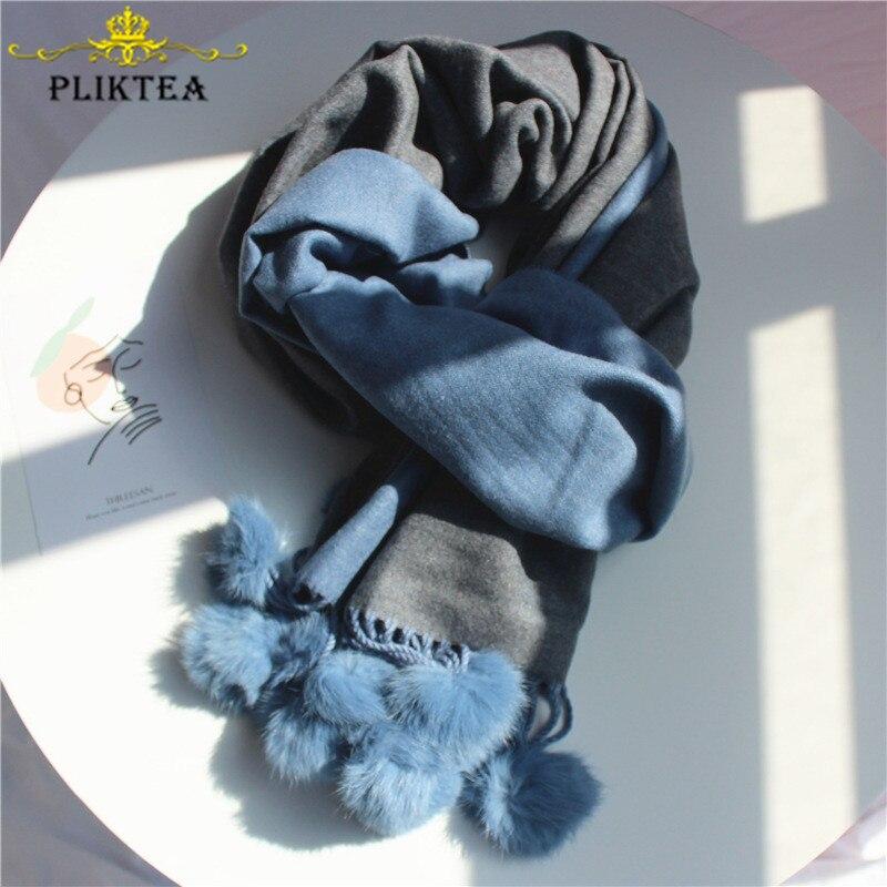 2020 Double Colors Faux Fabbit Fur Pompom Blue Women's Winter Scarfs Poncho Solid Color Female Shawl Khaki Ladies Scarves Wrap