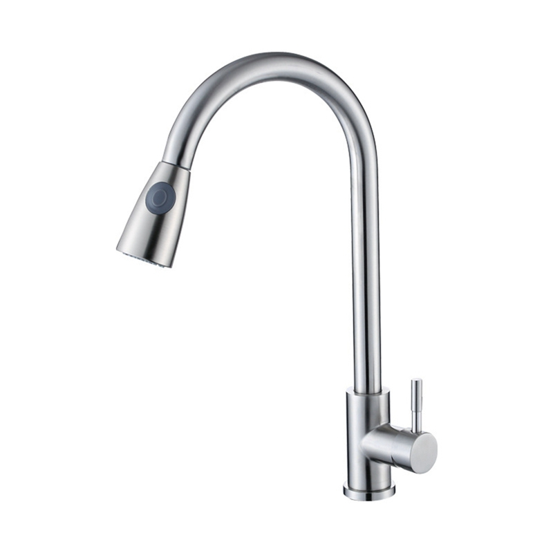 Pull Out Kitchen Faucet With Sprinkler Bathroom Sink Faucet Two Spraying Methods 360 Degree Rotating Stainless Steel Faucet