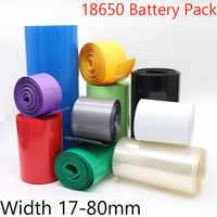Paquete de tubos termorretráctiles de PVC con batería Lipo 18650, ancho de 17mm ~ 80mm, envoltura de película de aislamiento, funda de Cable de litio, azul, Multicolor