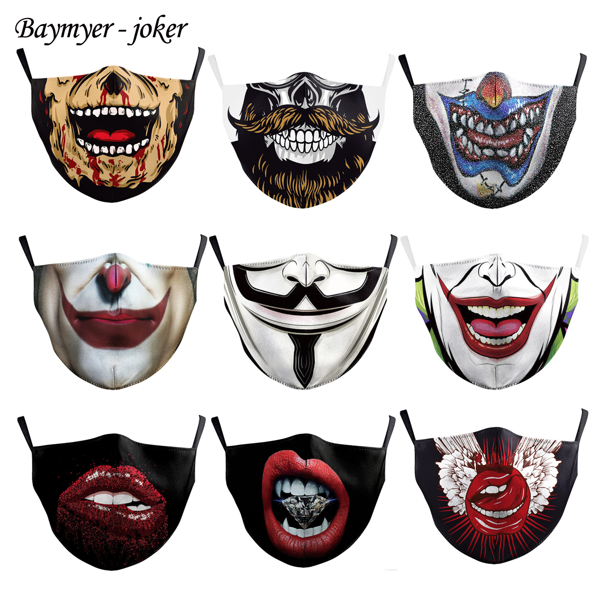 Reusable Anti-dust Protective Funny Joker Face Masks Smiley Open Mouth Masks Adults Unisex Multicolor Clown Masks