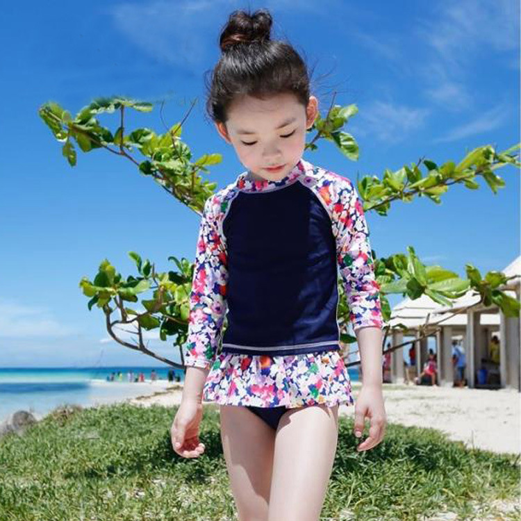 Korean-style New Style GIRL'S Swimsuit Holiday Beach Hot Springs Medium-small Children Split Skirt-Long Sleeve Sun-resistant Swi