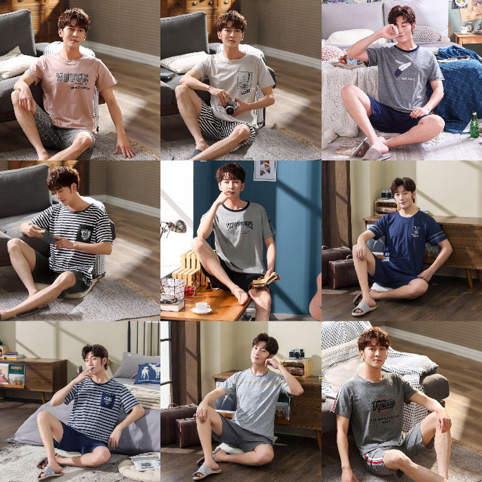 Pajamas Men's Summer Thin Short Sleeve Shorts Casual Spring And Autumn-Outer Wear Men Youth Set
