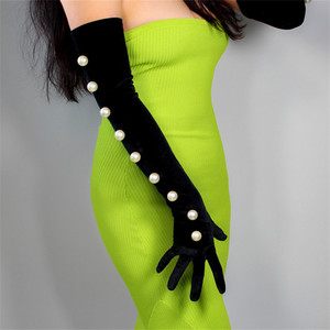 Image 3 - Guantes de terciopelo negro para mujer, 2cm, cordón de perla blanca de gran tamaño 60cm de largo, elástico negro, dorado, terciopelo, guantes de noche para mujer WSR24