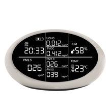 Dienmern interior pm2.5 formaldeído (hcho) tvoc analisador de gás qualidade do ar monitor detector analisador sensor medidor