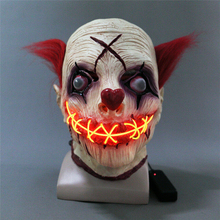 1Pcs Halloween Horrible Scary Joker Luminous Mask Cosplay Party Escape Dress Up Clown Pennywise LED Costume Props for Adult