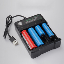 Li-Ion Lithium Battery Player Amplifier USB 4 Separate Charging Base for 10440 14500 16340 16650 14650 18650 Charger