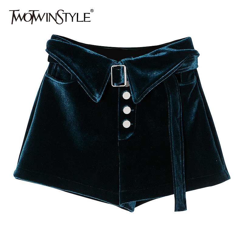 TWOTWINSTYLE Elegant Velvet Women Shorts High Waist With Sashes Loose Casual Short Pant For Female Fashion 2020 Spring Clothing