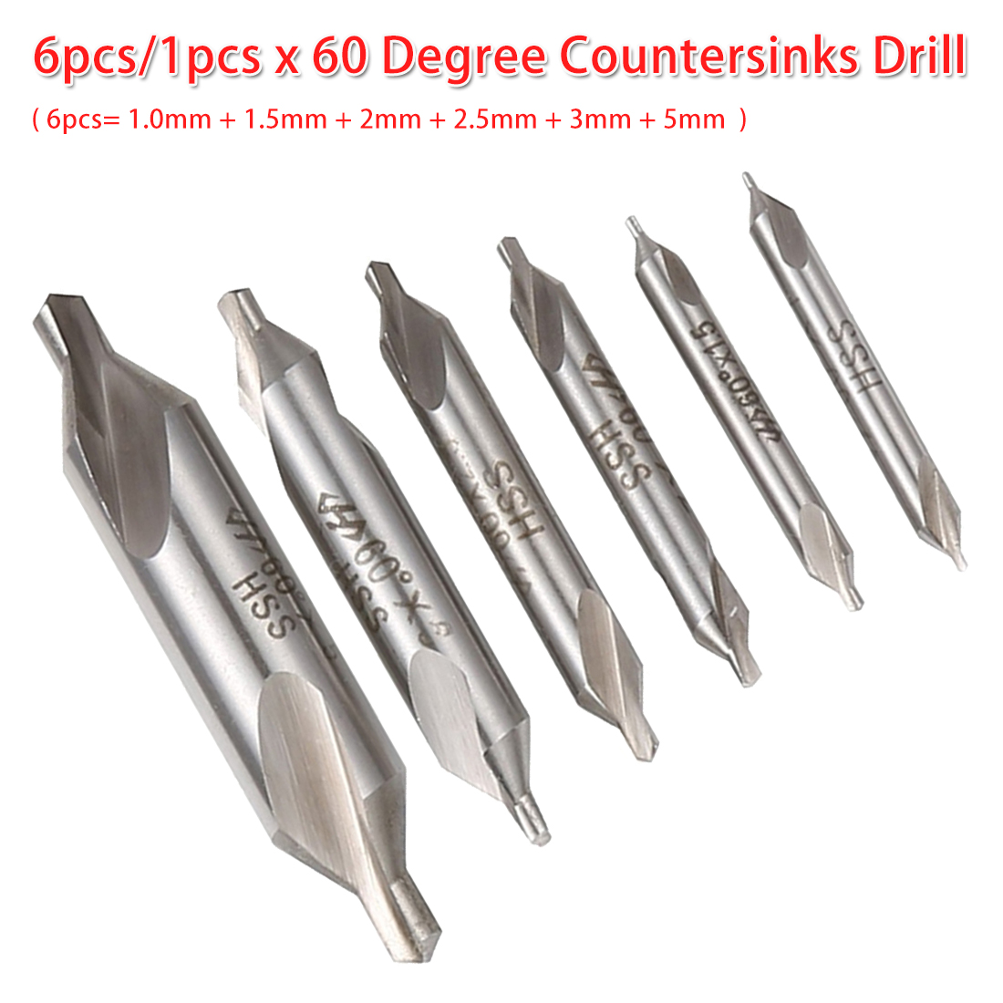6pcs Center Drill Bits Kit Set Combined Countersink High Speed Steel Tool 1mm 1.5mm 2mm 2.5mm 3mm 5mm