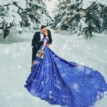 SINGLE ELEMENT Cap Sleeve Satin Wedding Party Long Blue Prom Dress