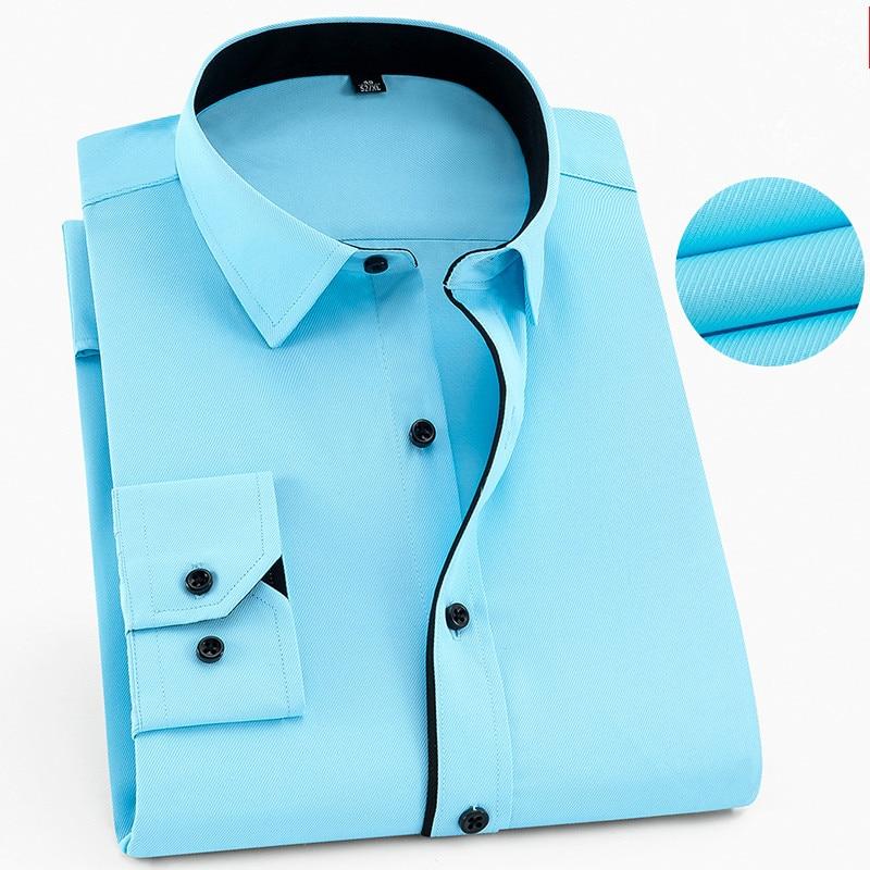 6XL 7XL 8XL Men's Work Shirt Men Shirt Long Sleeve Mens Shirts Casual Slim Fit Men's Clothing Mens Dress Shirts Camisa Masculina(China)