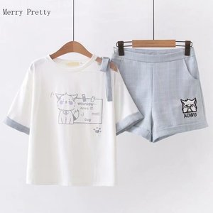 Women Two Piece Set Top And Pants Plus Size S-xl Short Sleeve Cotton T Shirt Hight Waist Ziper Fly Shorts 2020 Summer Women Set(China)