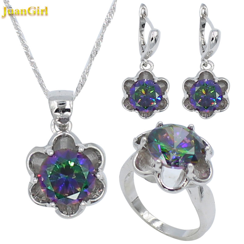 Multicolor Floral Zircon Necklace and Earring Jewelry Sets Wedding Jewelry
