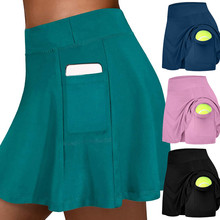Tennis Skirts Elastic-Sports Golf-Pockets Fitness Yoga Women's Run Hakama Safety