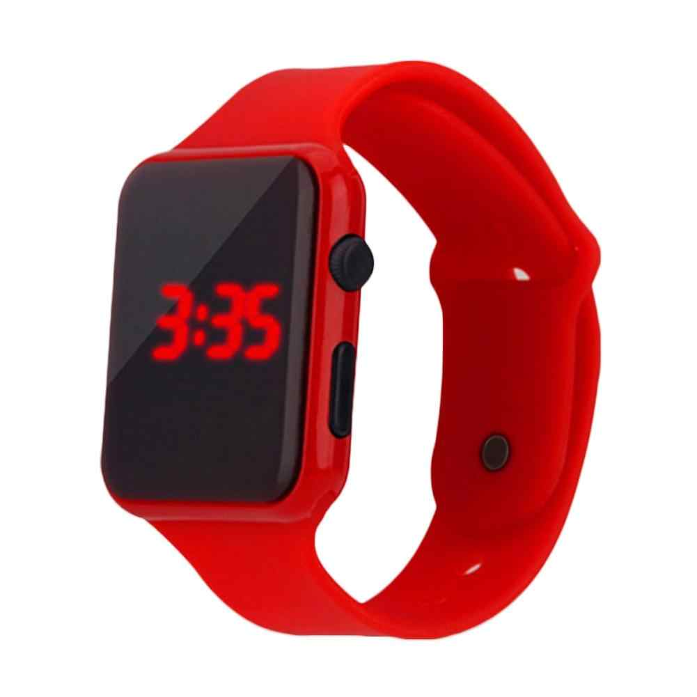 LED الرقمية الرياضة ساعة للبنين بنات الرجال النساء للجنسين مستطيل الطلب عرض البلاستيك إلكتروني ساعة معصم montre أوم