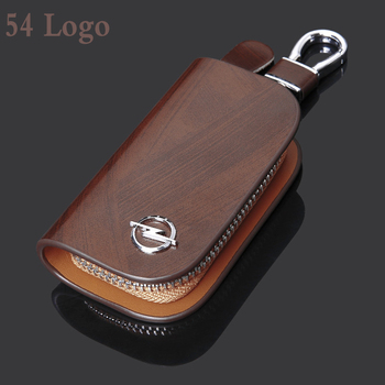 цена на Leather Car Key Case Key Cover With Car Logo For BMW Benz Audi Honda Toyota Opel Chevrolet Ford Mazda Cadillac Lexus Volvo VW