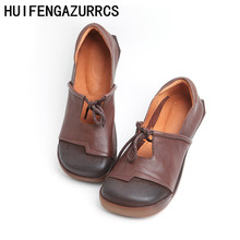HUIFENGAZURRCS-Genuine Leather Vintage literary womens shoes flat soft sole single toe skid-proof breathable leisure