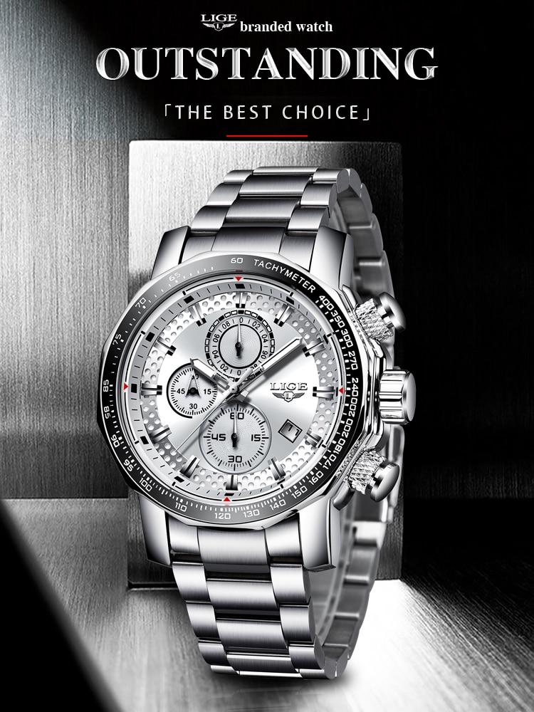 LIGE Mens Watches Quartz-Clock Chronograph Military Silver Waterproof Sport Top-Brand