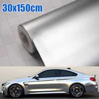 1pc Satin Matte Chrome Metallic Silver Vinyl Film 30x150CM Wrap Sticker Bubble Free Exterior Car Body Film