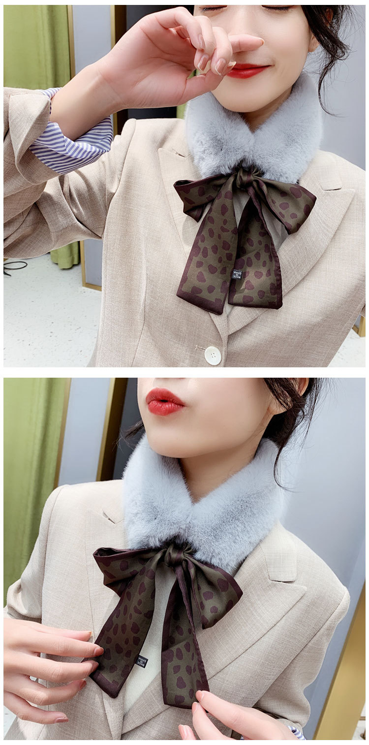 H0b7e274411b44a208e1f53960cb4891fK - New Long Skinny Silk Letter Leopard Printed Hair Head Scarf with Winter Warm Faux Fur Neck Collar Scarves for Women Foulard
