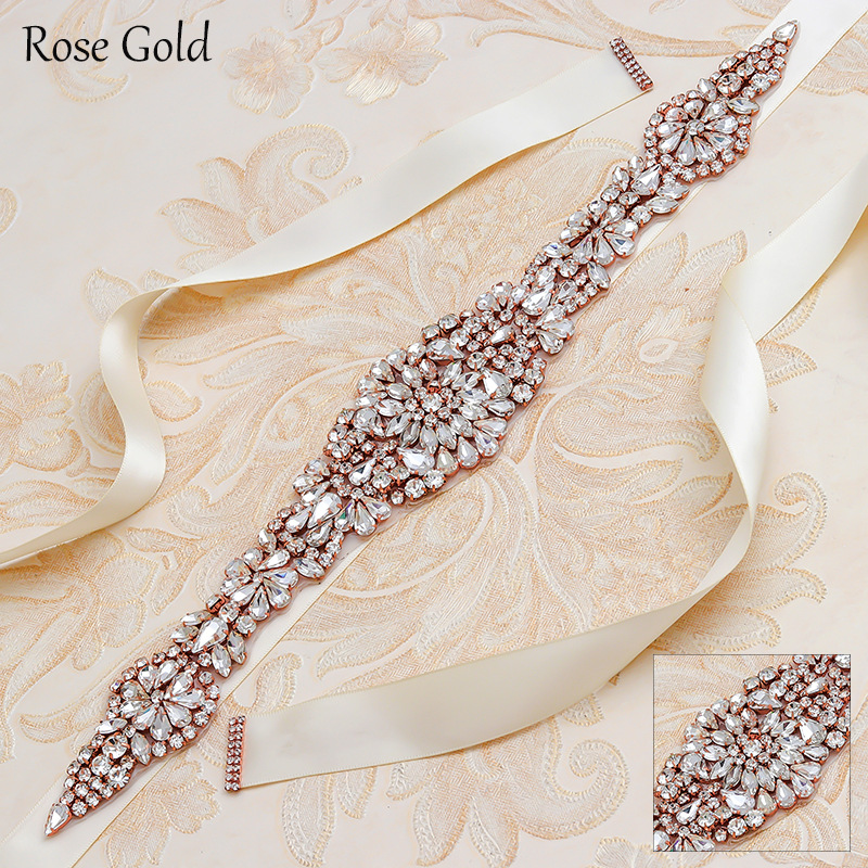 MissRDress Wedding Belt Rhinestones Sparkling Crystal Bridal Belt Gold Diamond Bridal Dress Sash For Wedding Accessories JK830