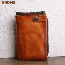 PNDME retro genuine leather men's short wallet designer luxury real cowhide multi-card credit card holder teen brown coin purse