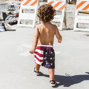 CUPSHE American Flag Print Boys Swim Trunks Swimsuit For Toddler Boys 2020 Summer Children Kids Board Shorts 2-13 Years