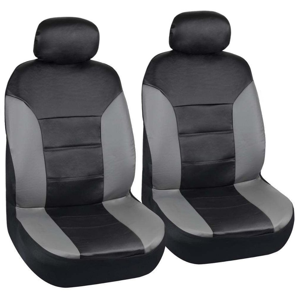 Black/gray Two Tone Pu Leather Side Air Bag Compatible Seat Covers For Car By Motor Trend - Front Pair