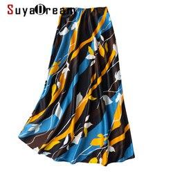 SuyaDream 100% falda de sirena de satén de seda para mujer 2020 faldas largas de verano falda de oficina elegante con estampado