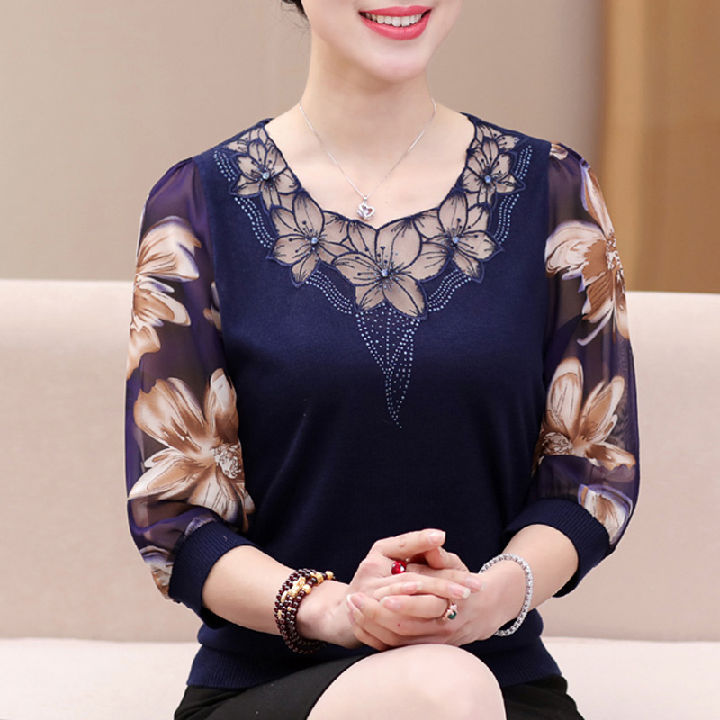 Autumn 2019 Hollow out Lace Women   Blouse     Shirt   Older Women Half sleeve flower printed see through Autumn female Women tops 901F5