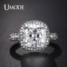 UMODE Jewelry 2019 Fashion Big Luxury Cusion Zircon Rings for Women New Wedding Engagement Band Jewelry Eternity Rings AUR0576A(China)
