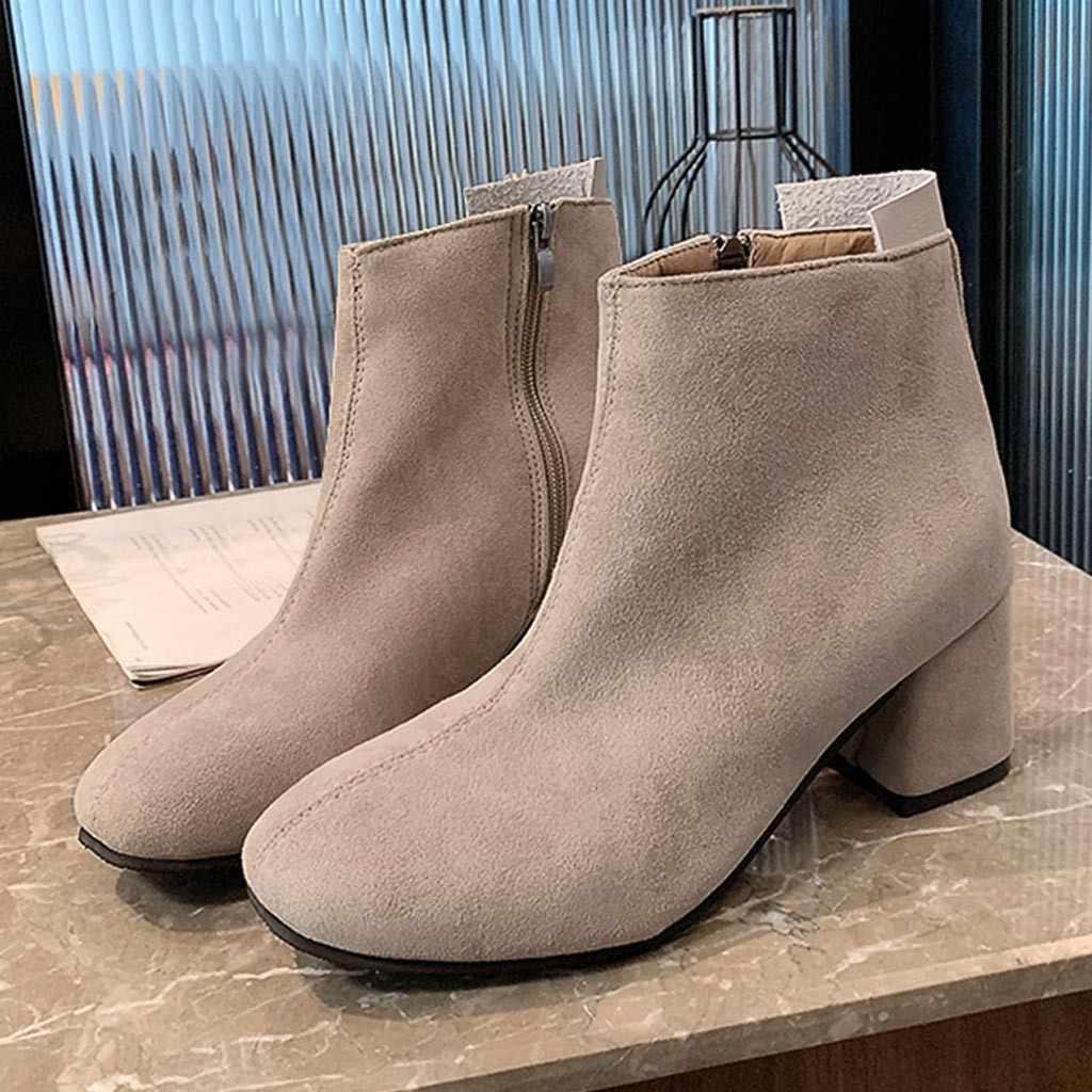 Batı yarım çizmeler Kadın Kalın Topuk Fermuar yarım çizmeler Kare Tek Çizmeler Rahat Zarif iş ayakkabısı Bota Feminina